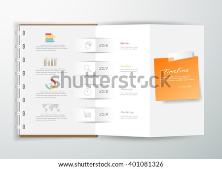 Design a book of timeline infographic  for business concept. can be used for workflow layout, diagram, number options, graphic or website layout. - stock vector