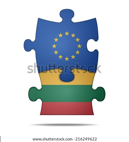 design a puzzle pieces flag europe and lithuania  - stock vector