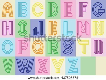 Design A to Z line color. Vector clip art. - stock vector