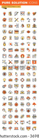 Design and development thin line flat design web icons collection. Icons for web and app design, easy to use and highly customizable. - stock vector