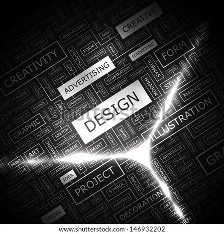DESIGN. Background concept wordcloud illustration. Print concept word cloud. Graphic collage with related tags and terms. Vector illustration.  - stock vector