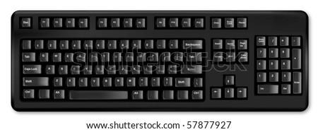 Design black keyboard. Vector. - stock vector