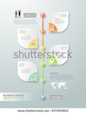 Design business timeline infographic, Infographic template, business design infographic, vector infographic. Infographics stock can be used for workflow layout, diagram, number option. - stock vector