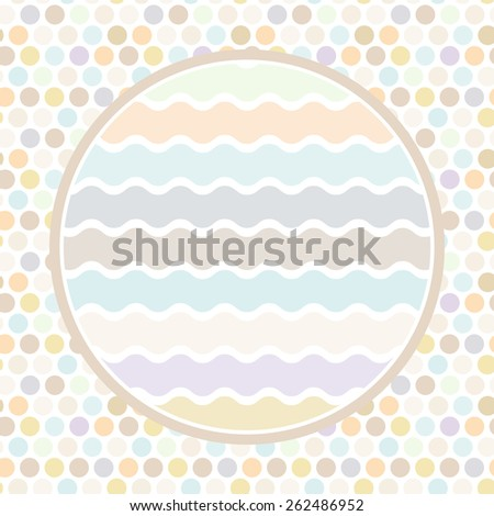 Design cards circle for your text Polka dot background, pattern. Pastel color dot on white background. Vector
