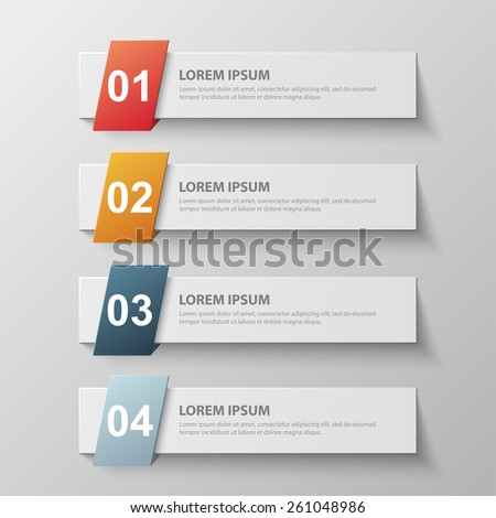 Design clean template for numbered banners, infographics, graphic or website layout. Vector illustration. - stock vector