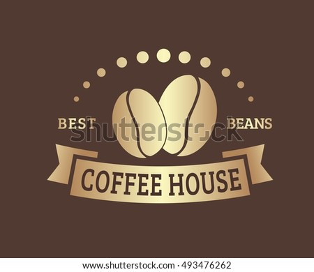 Design coffee logo with a ribbon and beans  for a cafe or shop. The template in gold color. Vector illustration
