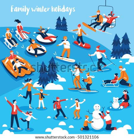 Design collection of decorative icons  with people and their kids engaged in winter sports on holidays flat vector illustration