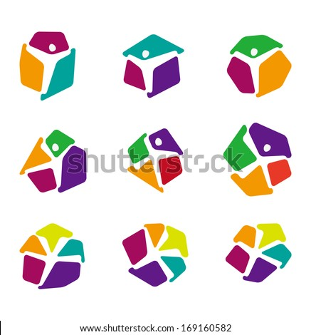 "Design colorful people vector logo template. ""y"", ""x"" letters icon set. You can use in the dance,  yoga ,sport and other organization concept of pattern. - stock vector"