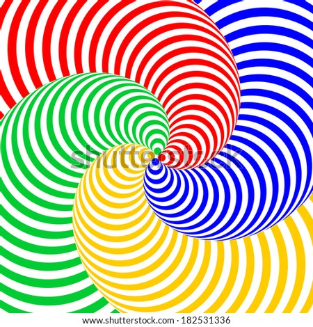 Design colorful swirl circular movement illusion background. - stock vector