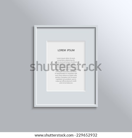 Design concept for your project - blank modern A4 white frame on a grey wall with place for text. Vector illustration EPS10 - stock vector