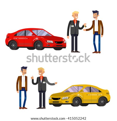 design concept of choice car and buying a car. Vector car, car cool flat, car  illustration. Vector detailed character buyer and seller, cool flat  illustration isolated on white background. - stock vector
