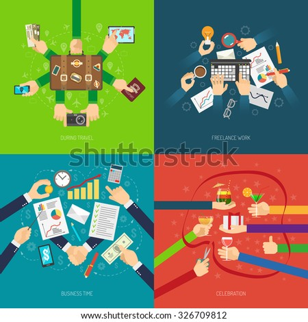 Design concept set with business hands in situation of work travel and celebration isolated vector illustration - stock vector