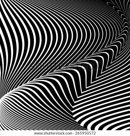 Design convex textured background. Abstract lines distortion twisting backdrop. Vector-art illustration. No gradient - stock vector