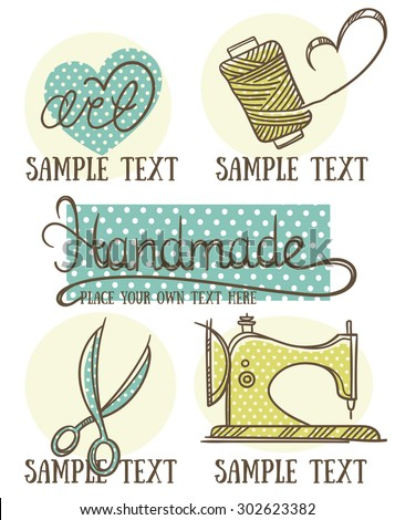 design, craft and handmade logo, symbol and emblems in doodle style - stock vector