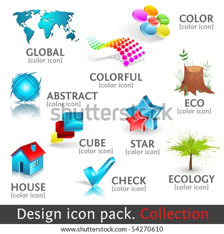 Design 3d color icon set. Collection. Vector high quality icons. Format eps10. - stock vector