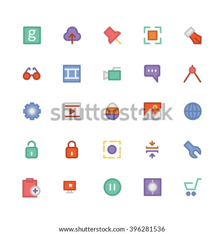 Design & Development flat bold Vector Icons 4 - stock vector