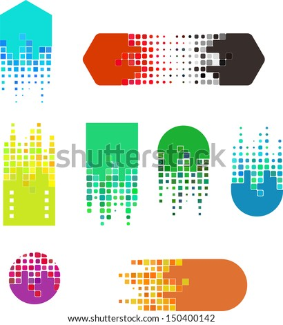 Design digital vector logo template.  Icon set. You can use in the buildings, movies, real estate ,chips and other digital concept of pattern.  - stock vector