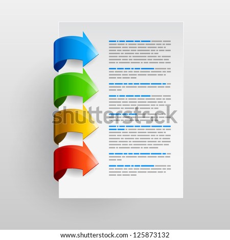 Design element for sample text with four colored arrows on a white background. Vector illustration. EPS 10 - stock vector