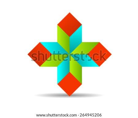 Design Element Plus Shape - stock vector