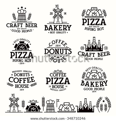 Design elements and labels for bakery, cafe, pizzeria and craft beer. Black print on white background - stock vector