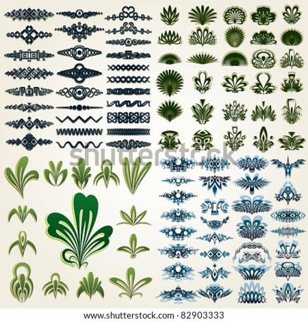 Design elements and page decoration. Vintage, floral and ornamental decor for your layout. Vector set. - stock vector