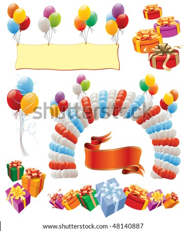 Design elements - balloons decoration for birthday and party - stock vector