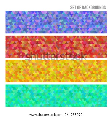 Design elements business presentation template. Vector illustration horizontal web banners background,  backdrop triangle color effect . EPS 10 for web buttons template, web site page presentation - stock vector