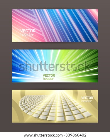 Design elements business presentation template. Vector illustration set horizontal web banners background, backdrop glow light effect . EPS 10 for web buttons template, web site page presentation - stock vector
