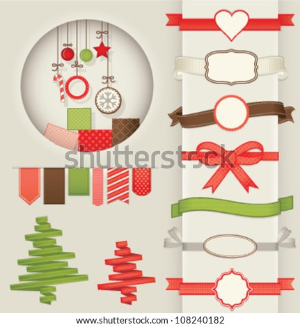 DESIGN ELEMENTS COLLECTION FOR CHRISTMAS. Ribbons, frames, dividers, patterns, decoration, banners, stickers, labels etc. Vector illustration file. - stock vector