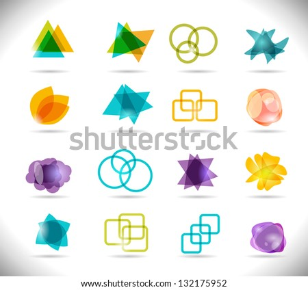 Design Elements. Collection of Bright Color Isolated Shapes. - stock vector