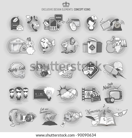 Design elements: concept icons - stock vector