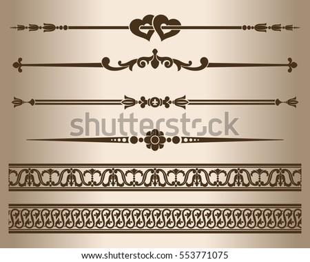 design elements decorative line dividers ornaments stock