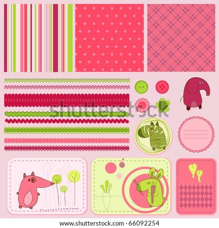 Design elements for baby scrapbook - stock vector