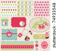 Design Elements for Baby scrapbook with apples - easy to edit - stock vector