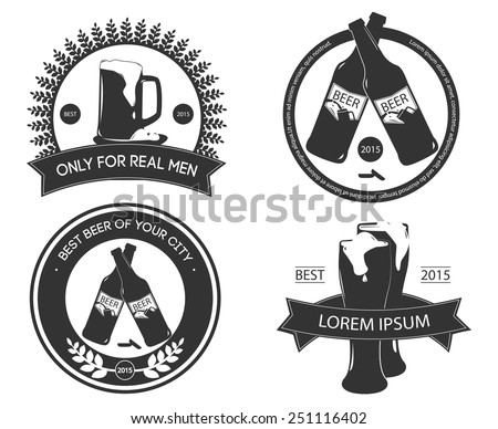 Design elements for beer products, logos, labels and logos isolated - stock vector