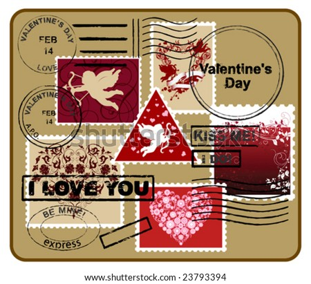 Design elements for envelope.  Valentine's day concept. Vector images scale to any size. - stock vector