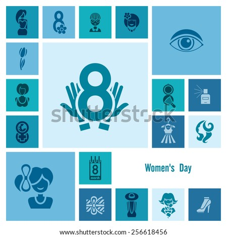 Design Elements for International Womens Day March 8, Icons. Vector - stock vector