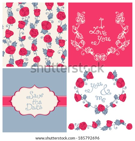 Design elements for romantic design. Seamless pattern. Vintage badge. Hand-drawn text. Wreath of roses and leaves. - stock vector