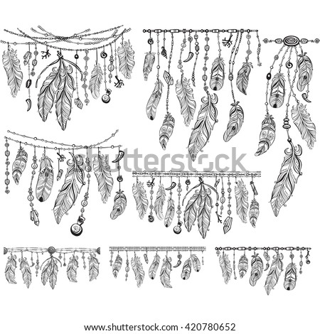 Design elements in Boho style. Lineart. Native style. Tattoo design. Pattern for coloring book. Print for T-shirt. - stock vector