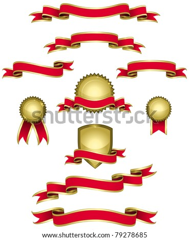 Design elements in red and gold. (Set 1) Set of banners, ribbons, seals in red and gold.