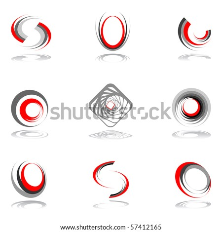 Design elements in red-grey colors #2. Vector illustration. - stock vector