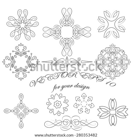 Design elements in the set, in a modern style for the logo and frames. - stock vector