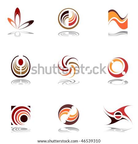 Design elements in warm colors. Set 9. Vector. - stock vector