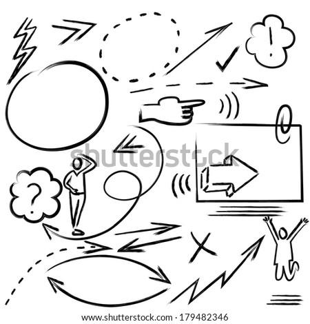 Design elements, infographics, hand drawn - stock vector
