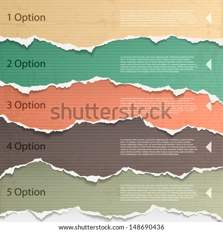 Design elements - multi colored torn paper. - stock vector