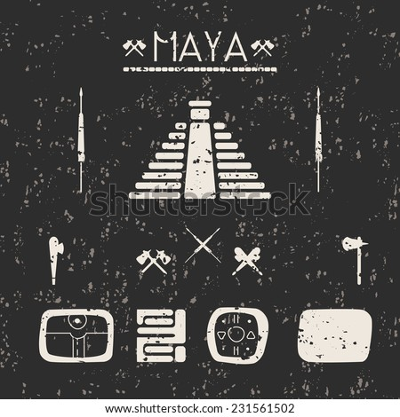 Design elements mystical signs and symbols of the Maya with texture in black and white. - stock vector