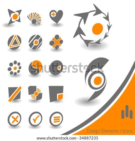 Design Elements orange gray - stock vector