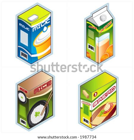 """Design Elements p.34a """"Groceries Icons"""" is a fully editable vector image file. I hope you enjoy. - stock vector"""