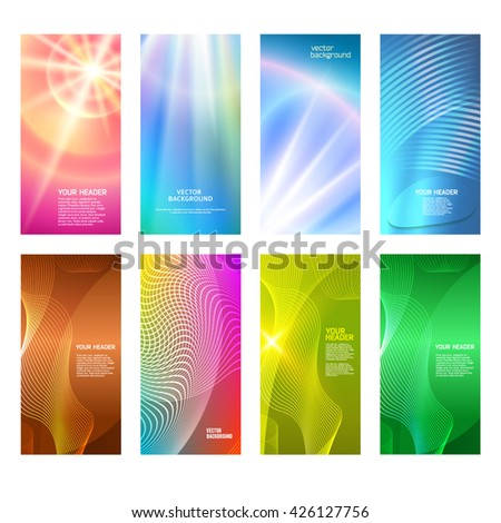 Design elements presentation template. Set vertical banners background, backdrop blur glow light effect. Vector illustration EPS 10 for web buttons template, business card layout, web site element