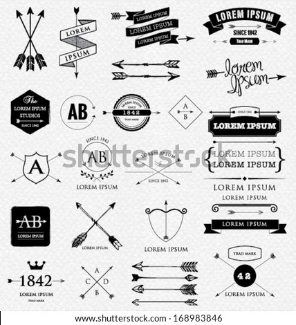 Design elements. Retro style. arrows, labels, ribbons, symbols such as logos. Editable vector illustration file. - stock vector
